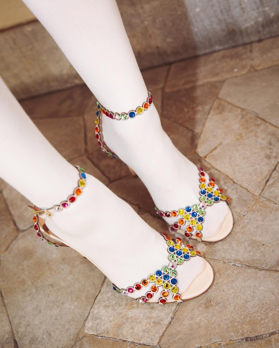 spring 2020 accessories featuring white tights and bejeweled heels // Notjessfashion.com