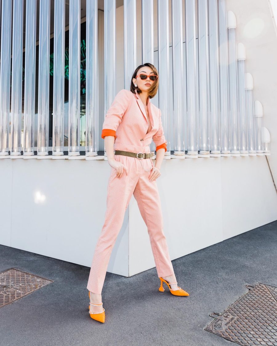 fashion blogger jessica wang wears coral jumpsuit and shares spring color trends // Jessica Wang - Notjessfashion.com
