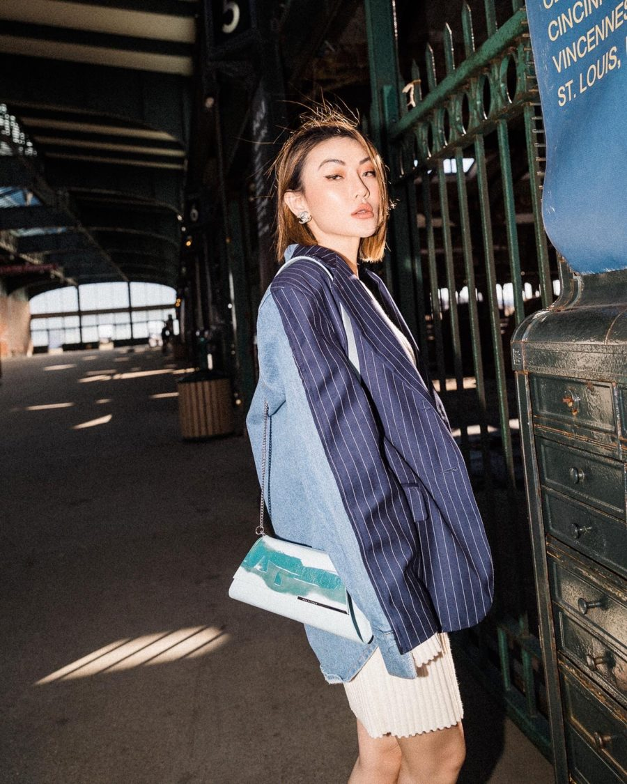fashion blogger jessica wang wears blue pinstripe blazer showcasing spring color trends // Jessica Wang - Notjessfashion.com
