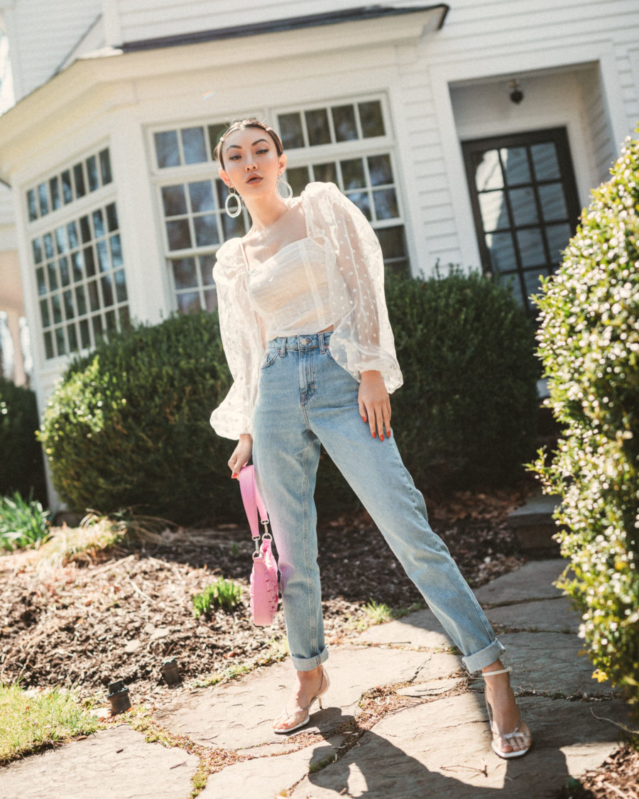 what to wear for labor day - topshop puff sleeve top with blue jeans and white heels // Jessica Wang - Notjessfashion.com