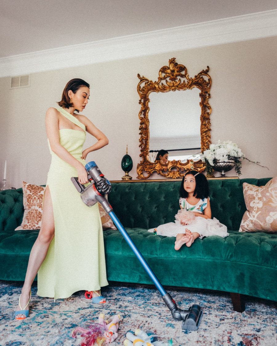 fashion blogger jessica wang vacuuming the living room and shares her best mom hacks // Jessica Wang - Notjessfashion.com