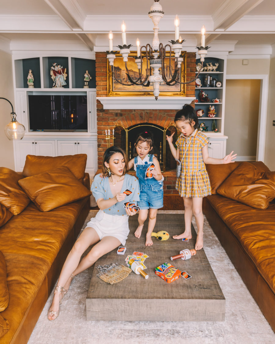 jessica wang in living room sharing tips to keep your kids busy in the summer // Jessica Wang - Notjessfashion.com
