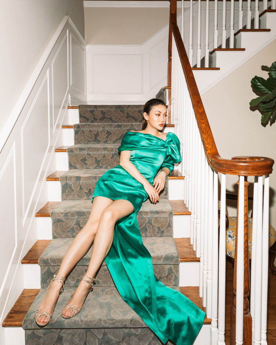 Christmas Outfits - Evergreen - Green hellessy dress, jimmy choo sandals // Jessica Wang - Notjessfashion.com