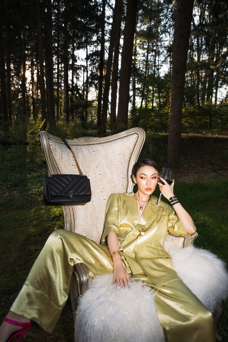 how to unwind after a long day - glass of wine outside // Jessica Wang - Notjessfashion.com