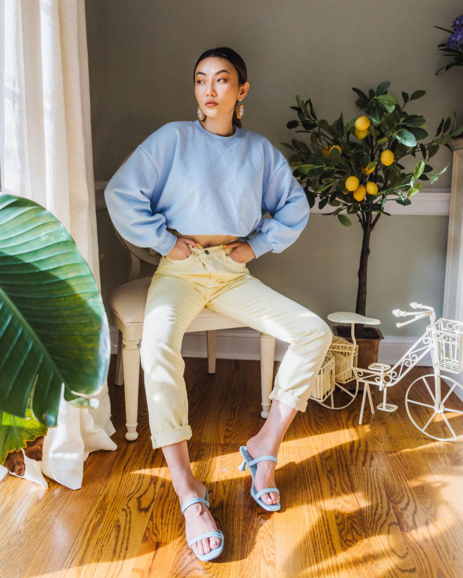 color combinations for summer - blue and yellow outfit // Jessica Wang - Notjessfashion.com