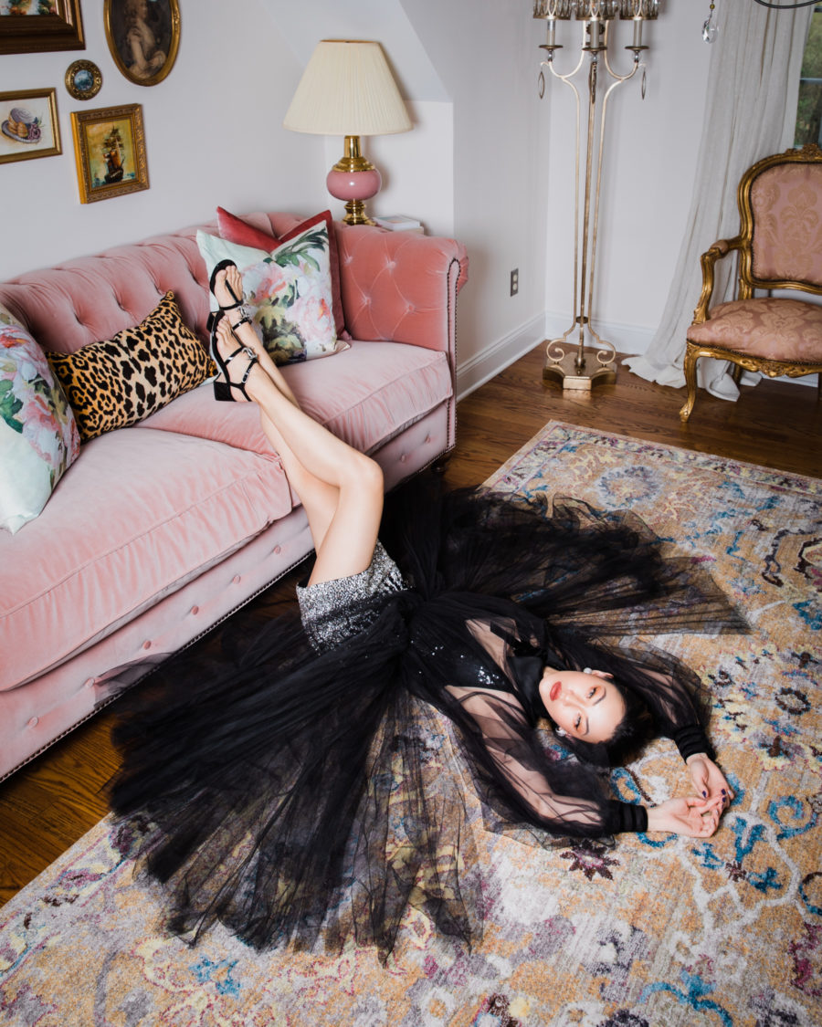 fashion blogger jessica wang wears tulle dress on living room floor and shares quarantine projects // Jessica Wang - Notjessfashion.com