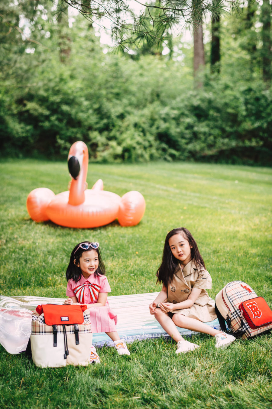 jessica wang's daughters wearing gucci dress and burberry outfit // Jessica Wang - Notjessfashion.com