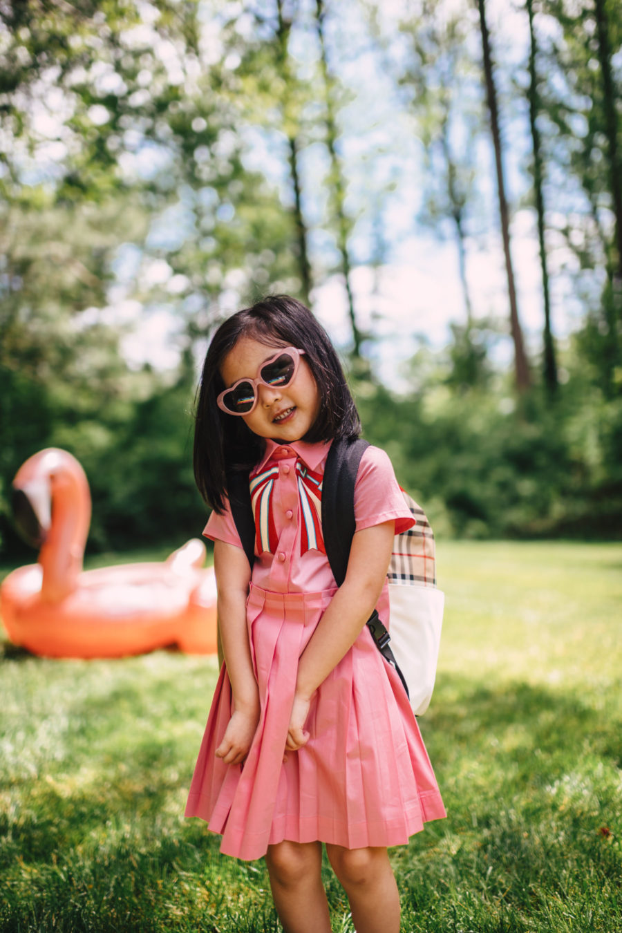 luisaviaroma summer outfits for kids featuring gucci dress and burberry backpack // Jessica Wang - Notjessfashion.com