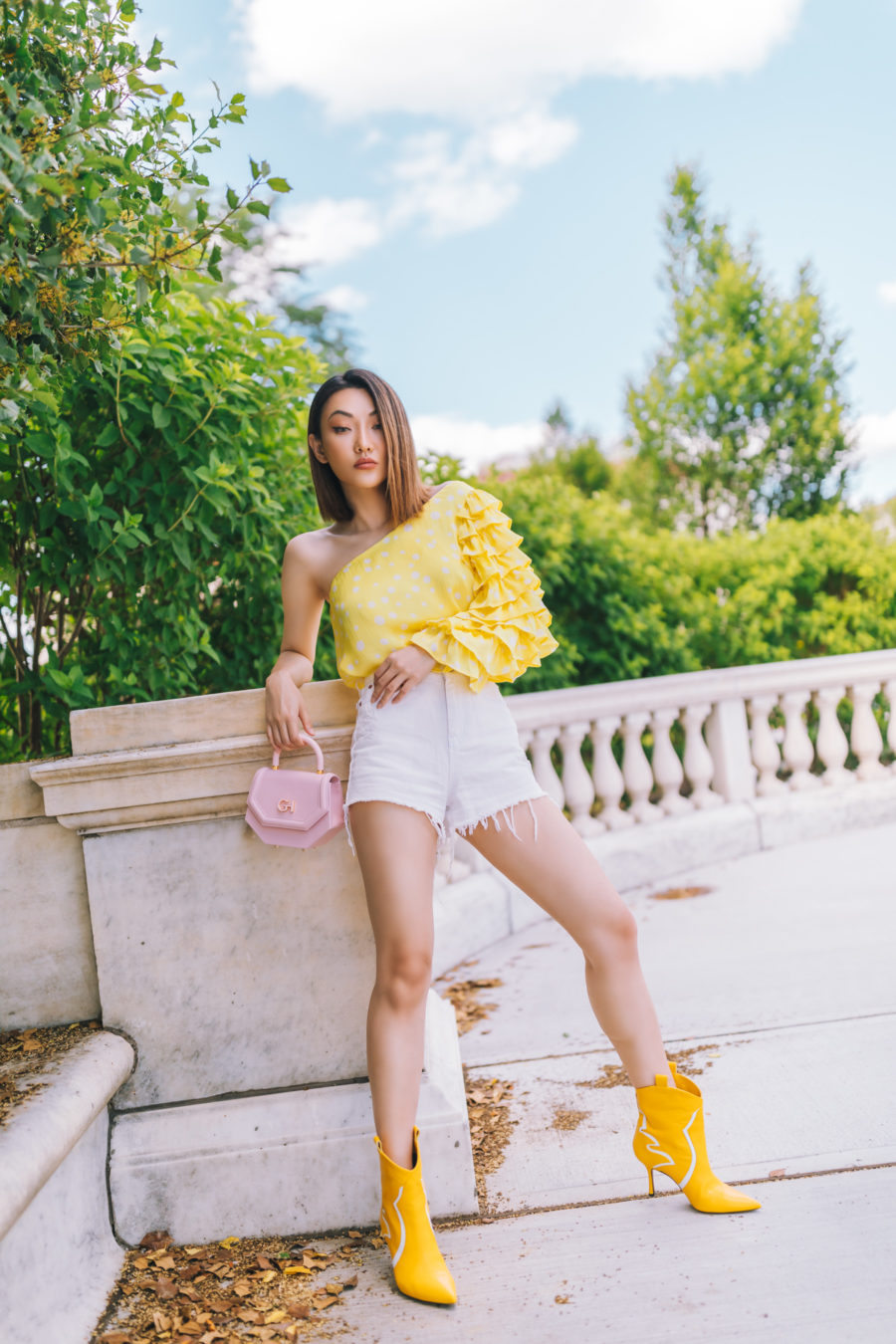 jessica wang x amazon the drop collection one-shoulder lemon blouse // Jessica Wang - Notjessfashion.com