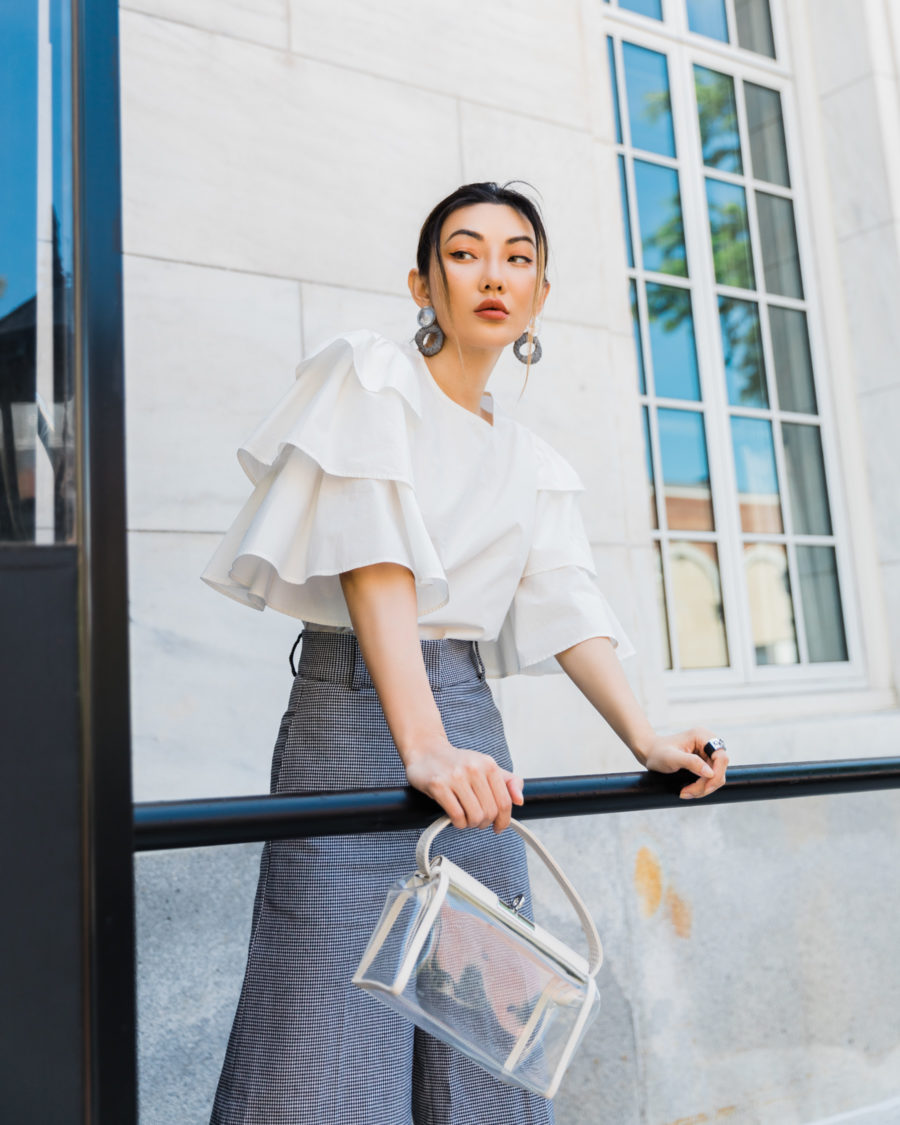 jessica wang wearing ruffle top sharing july 4th designer sales // Jessica Wang - Notjessfashion.com