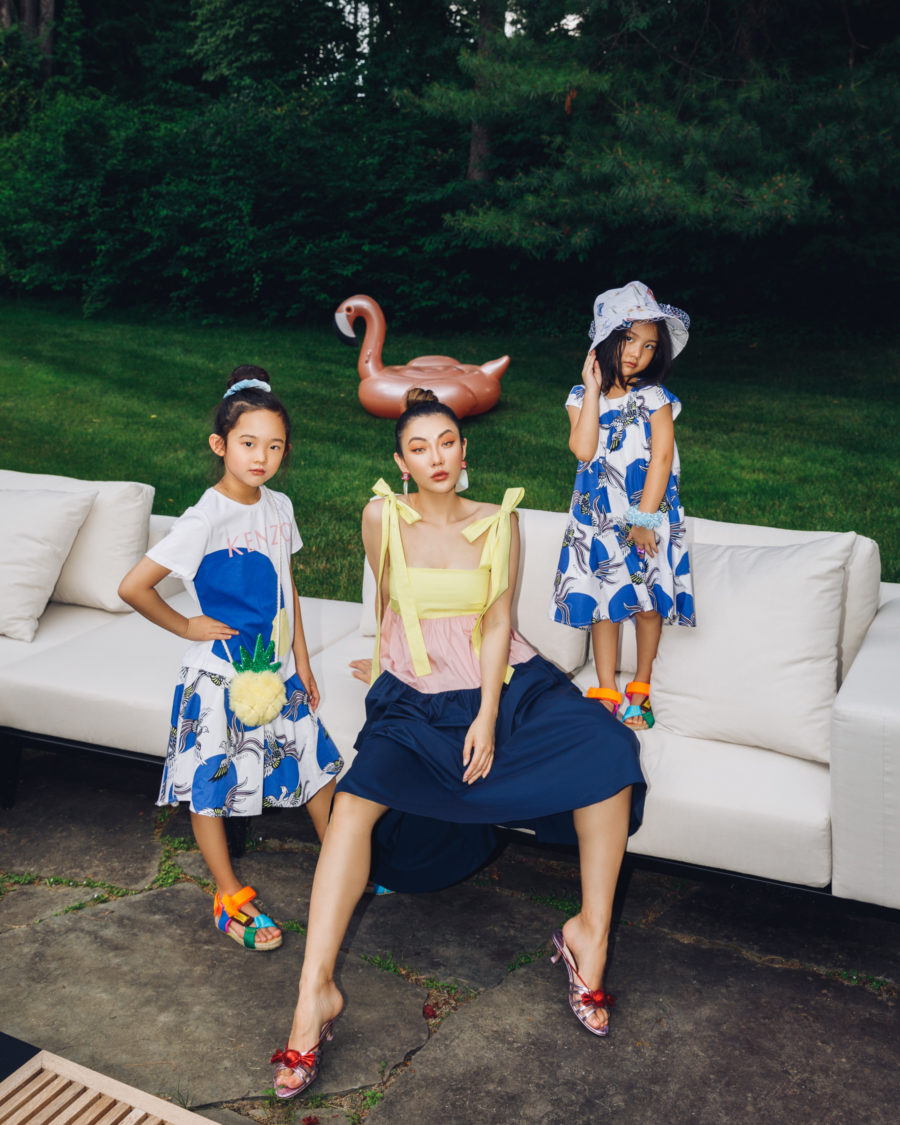 fashion blogger jessica wang wearing in her backyard with children sharing the most fashionable face masks // Jessica Wang - Notjessfashion.com