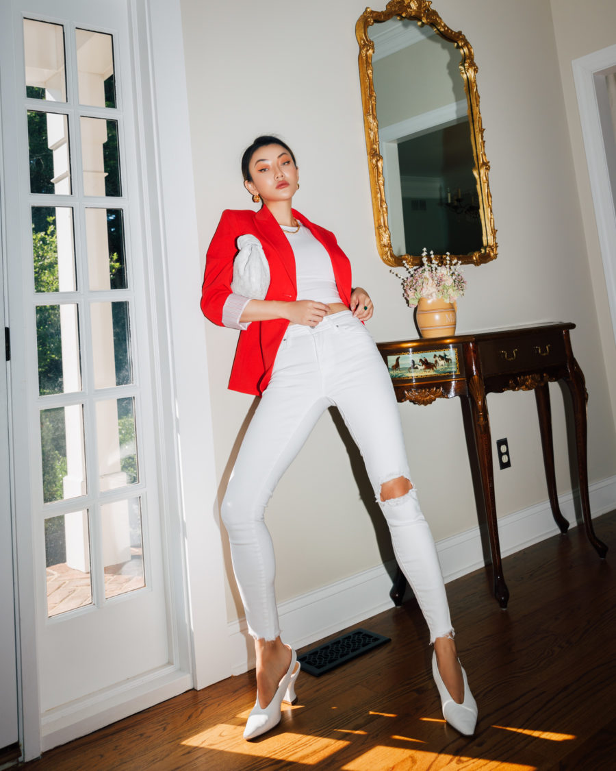 fashion blogger jessica wang wears white outfit and red blazer while sharing how to help lebanon // Jessica Wang - Notjessfashion.com