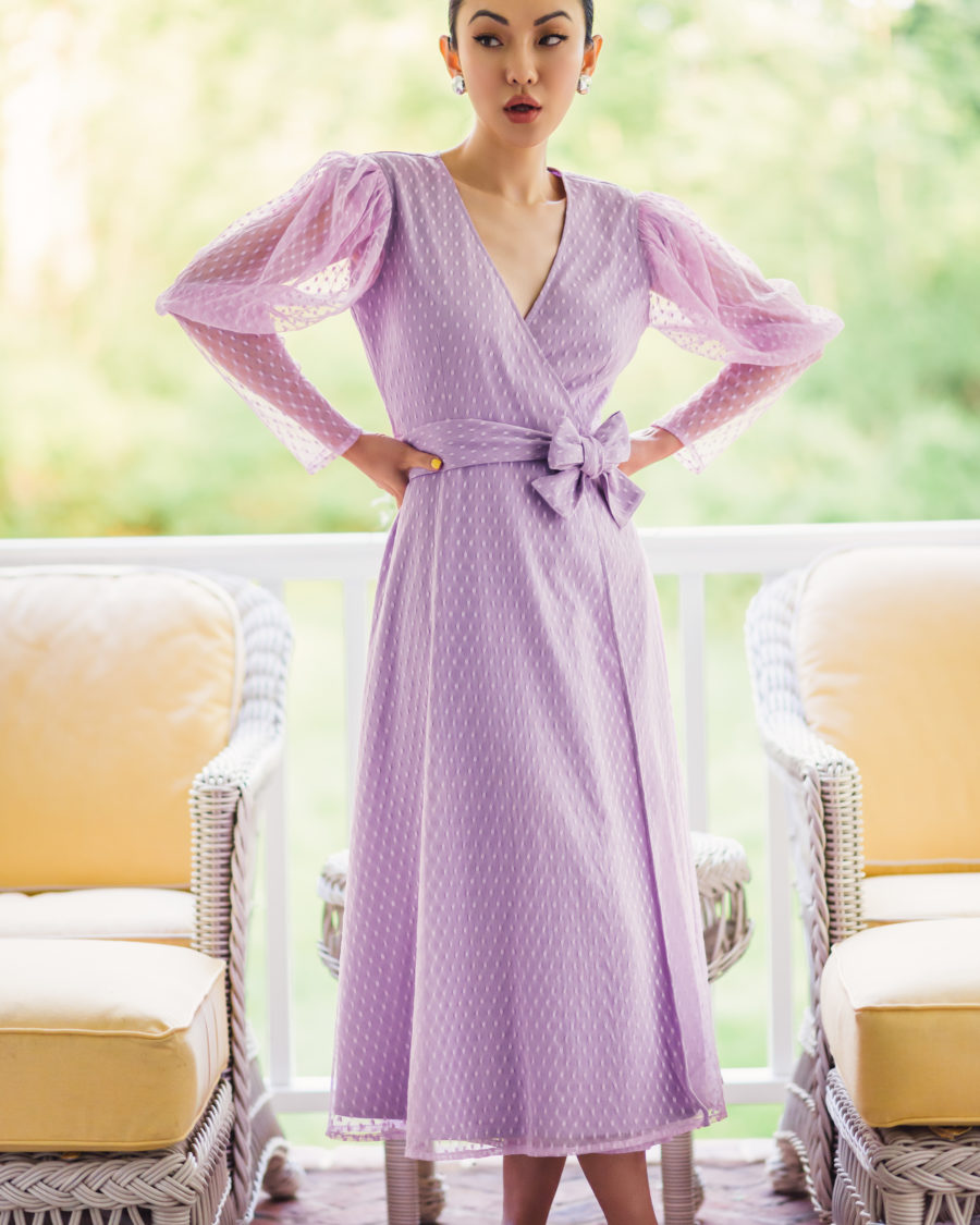 my collection with amazon the drop featuring lavender wrap dress // Jessica Wang - Notjessfashion.com