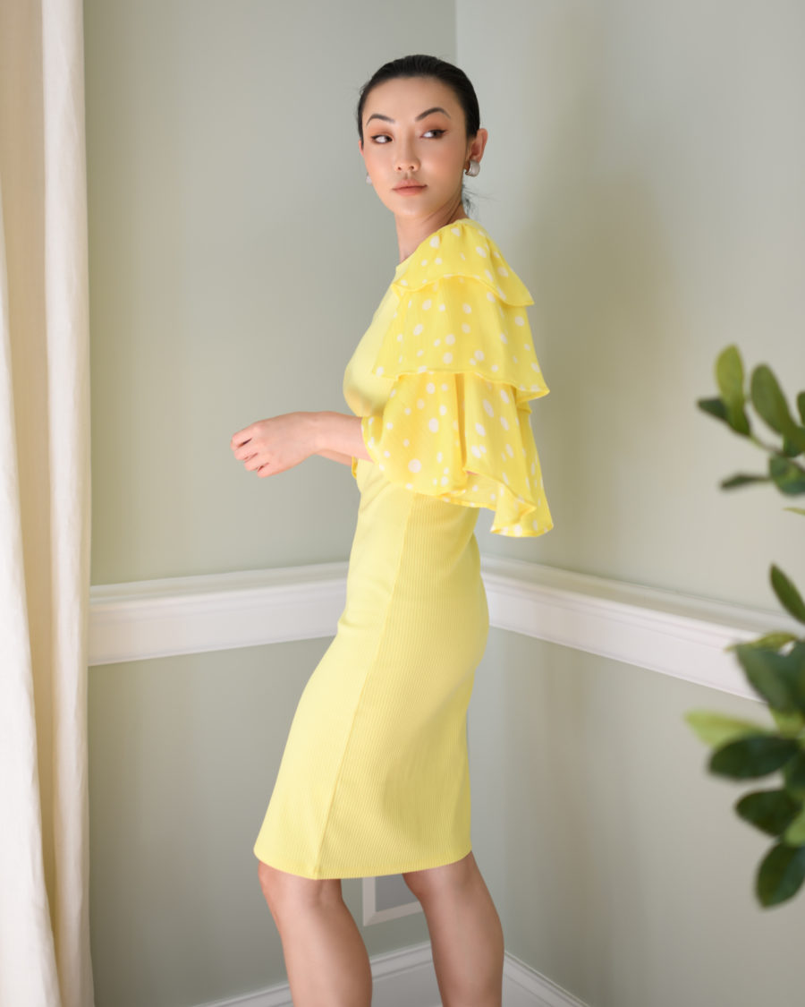 jessica wang x amazon the drop collection yellow sheath dress with tiered sleeves // Jessica Wang - Notjessfashion.com