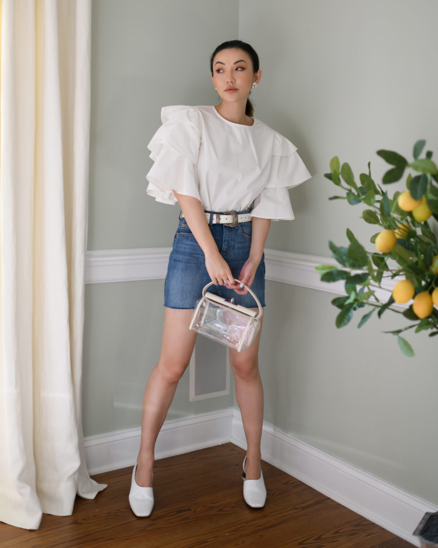 my collection with amazon the drop featuring white top with tiered sleeves // Jessica Wang - Notjessfashion.com