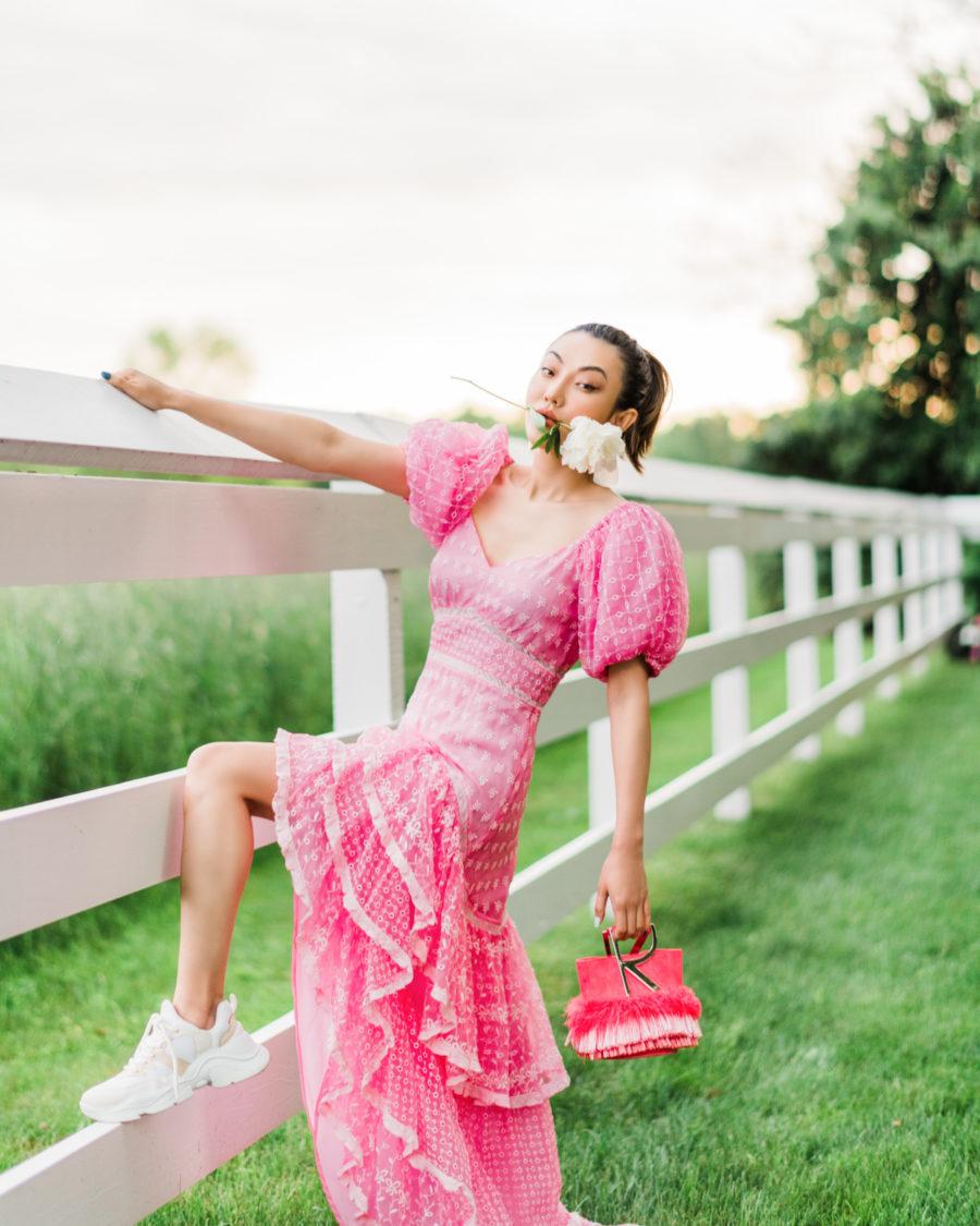 jessica wang wearing a pink loveshackfancy dress // Jessica Wang - Notjessfashion.com