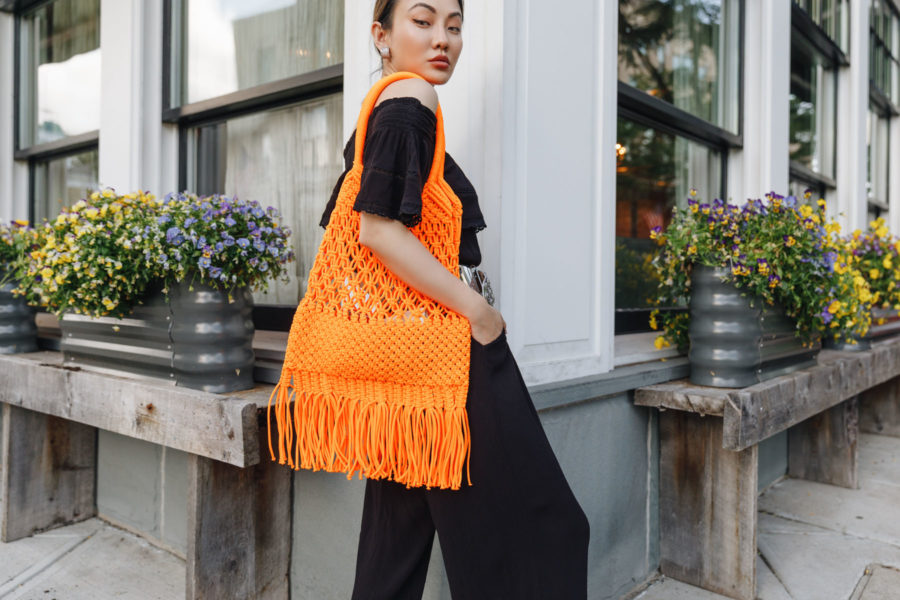 summer weekly outfits featuring walmart jumpsuit and orange macrame bag // Jessica Wang - Notjessfashion.com