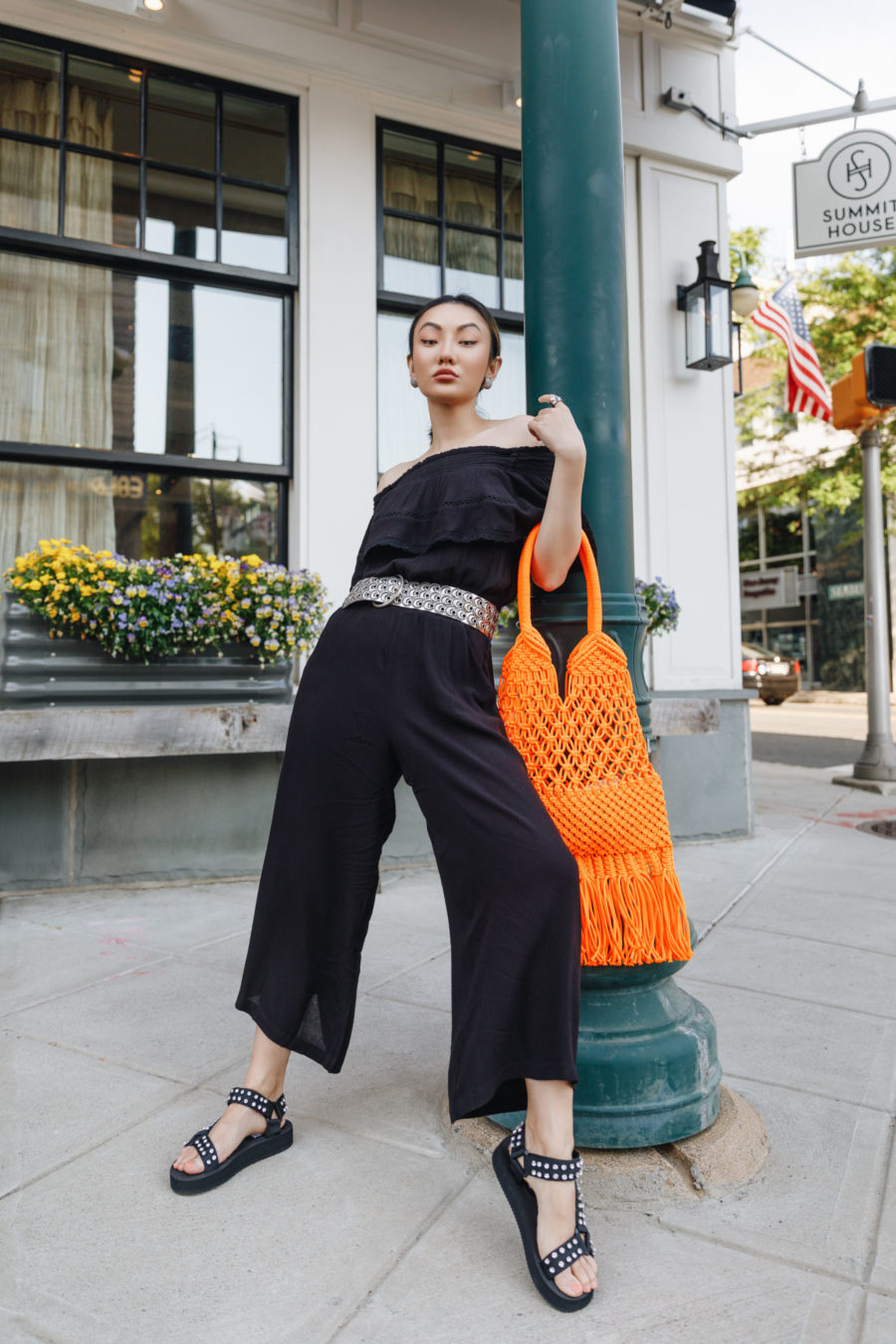 summer weekly outfits featuring walmart jumpsuit steve madden sandals and orange macrame bag // Jessica Wang - Notjessfashion.com