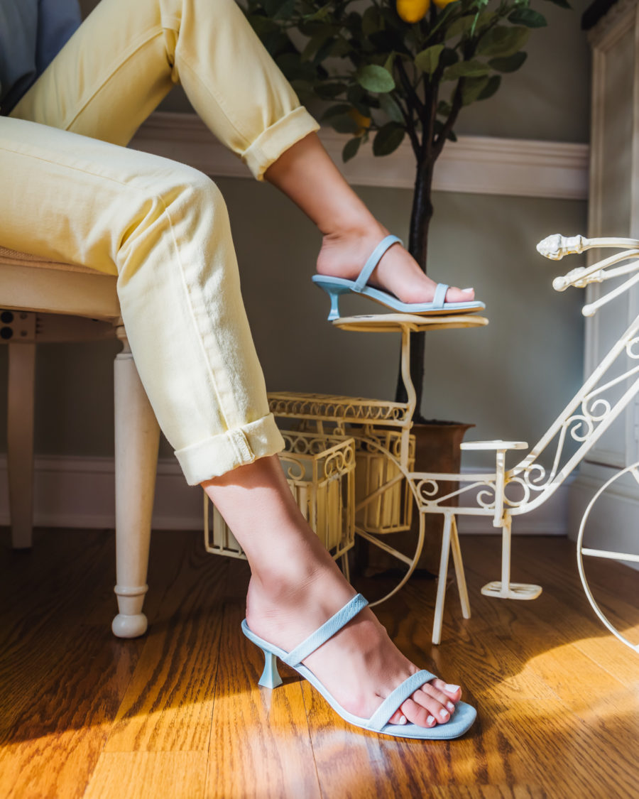 Vintage Fashion Trends - Yellow Jeans, sky blue square toe sandals, kitten heels // Jessica Wang - Notjessfashion.com