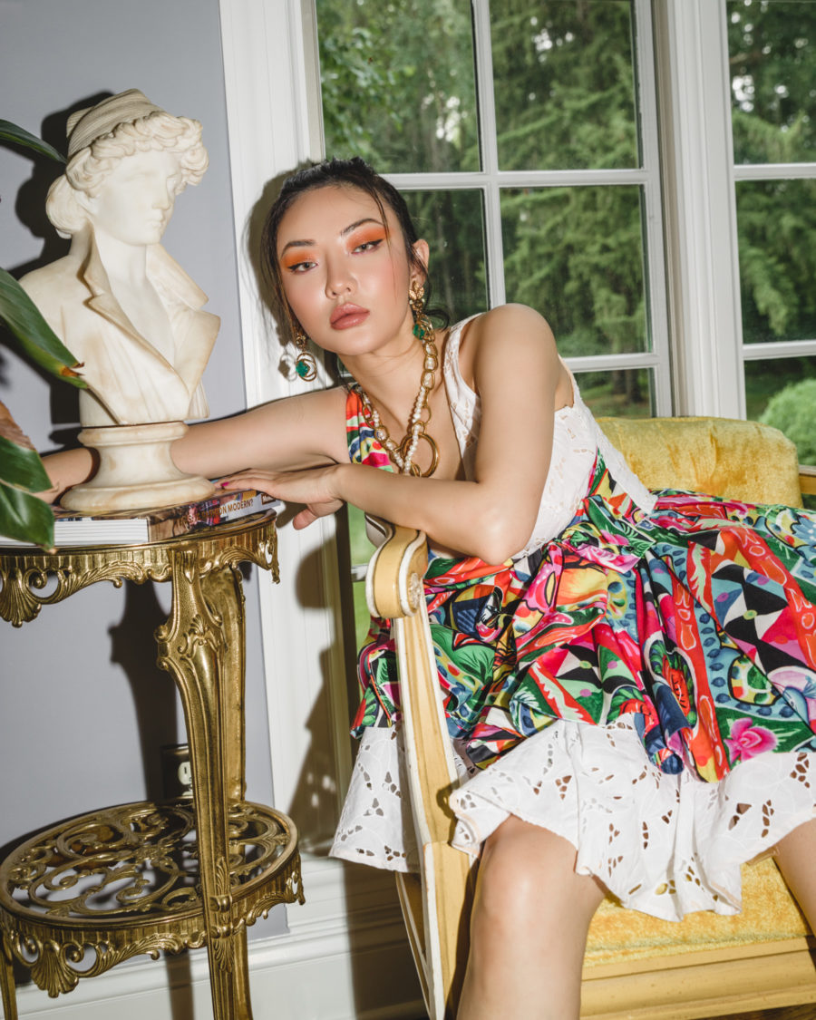 Stella Jean dress, Janashia pearl necklace // Jessica Wang - Notjessfashion.com