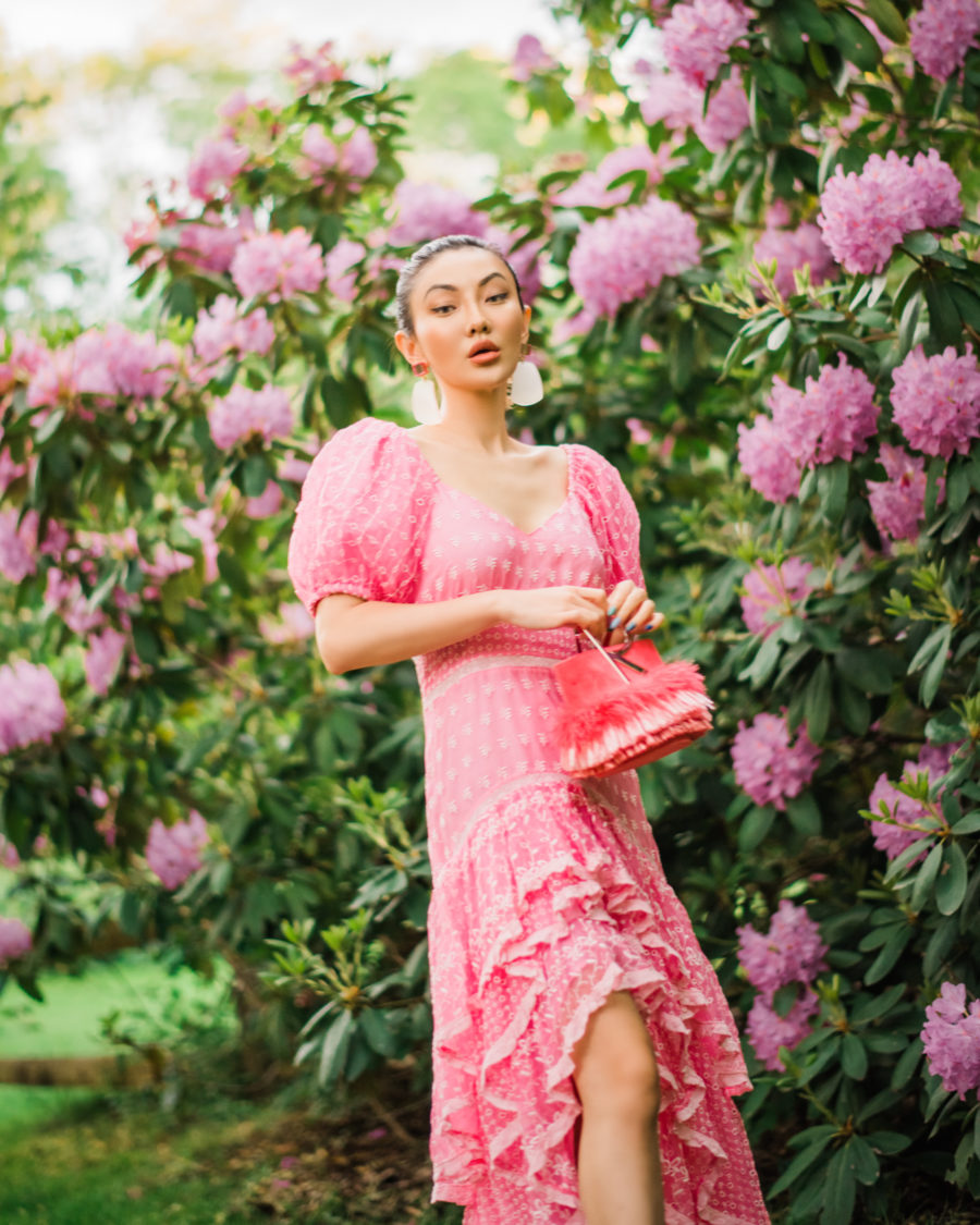 fashion blogger jessica wang wears loveshackfancy pink dress and shares clean summer beauty products // Jessica Wang - Notjessfashion.com