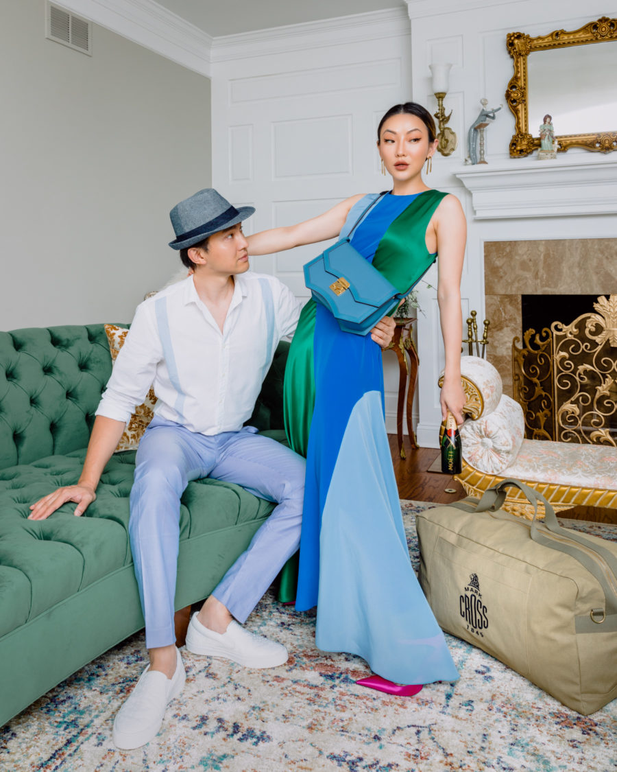 matching couple outfit ideas in a blue color block dress // Jessica Wang - Notjessfashion.com