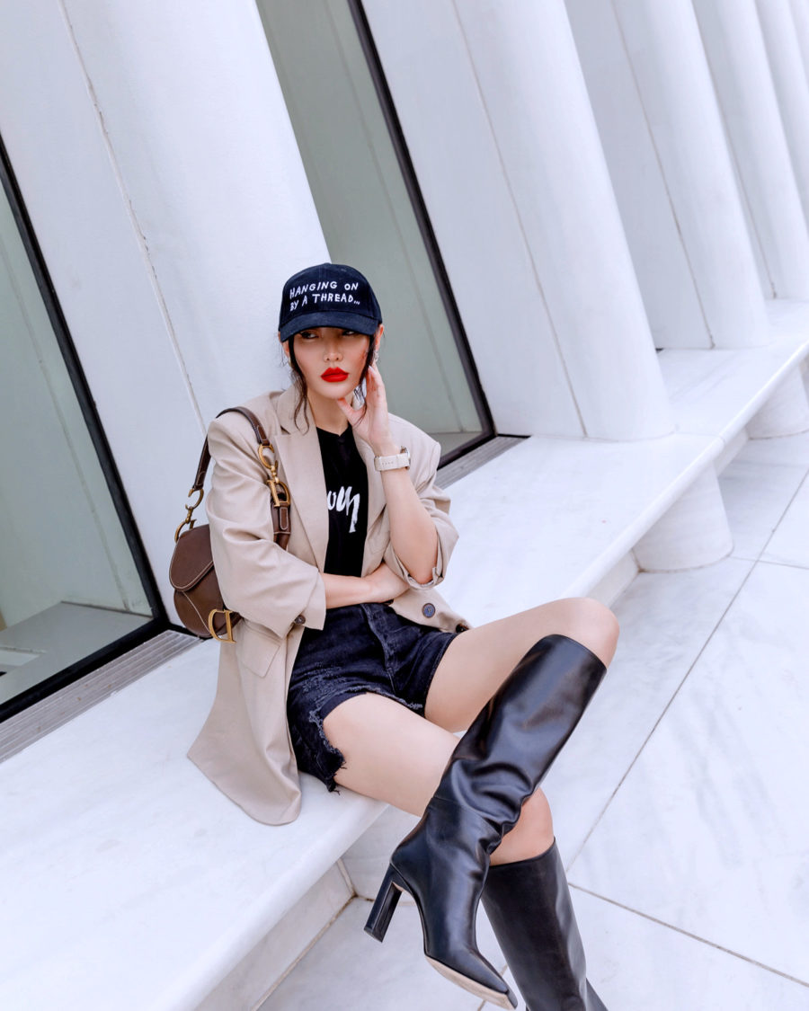 fall 2020 trends featuring oversized blazer with knee high boots // Jessica Wang - Notjessfashion.com