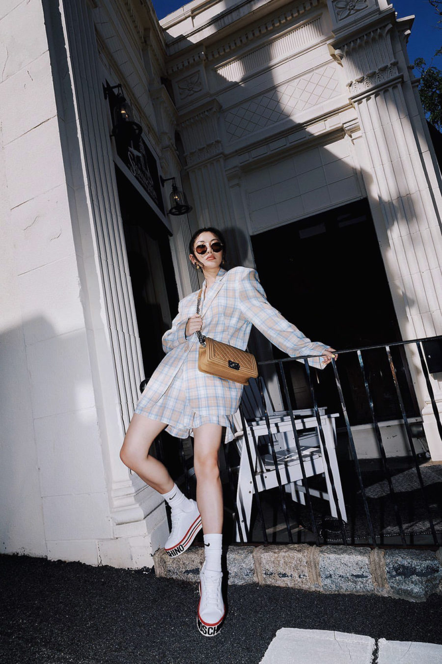 on-trend fall outfits featuring short suit and moschino platform sneakers // Jessica Wang - Notjessfashion.com