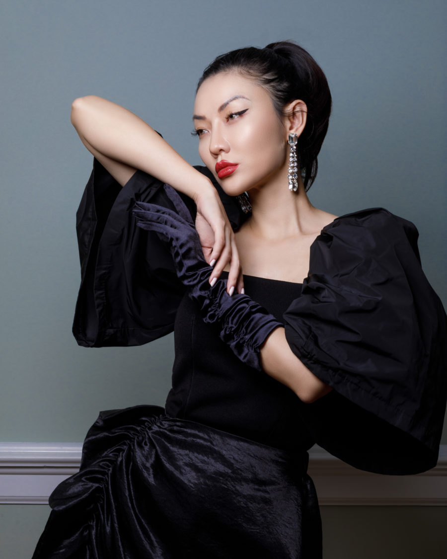 Christmas Outfits - dark glam - rhinestone earrings, black silk dress, black puffy sleeve top// Jessica Wang - Notjessfashion.com