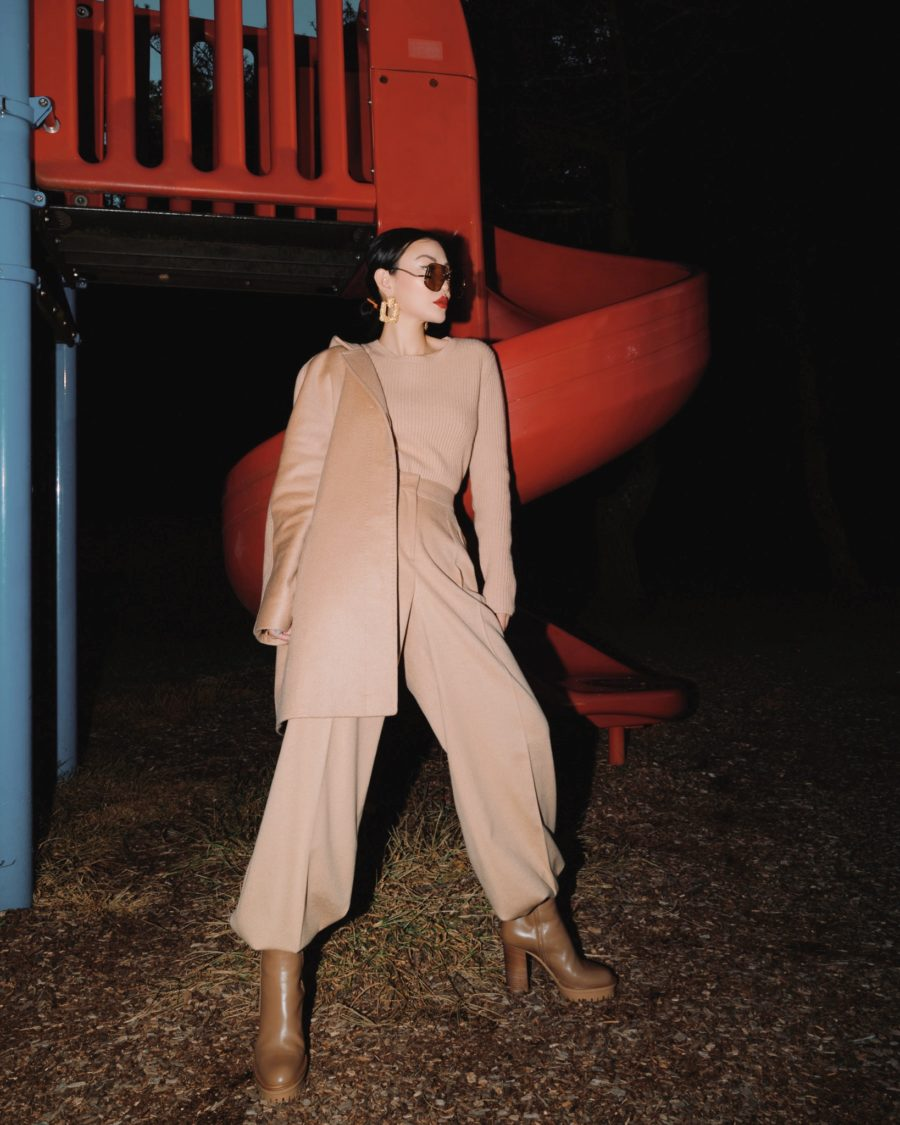 fashion blogger jessica wang wearing a camel outfit with fall 2020 boots trends // Jessica Wang - Notjessfashion.com