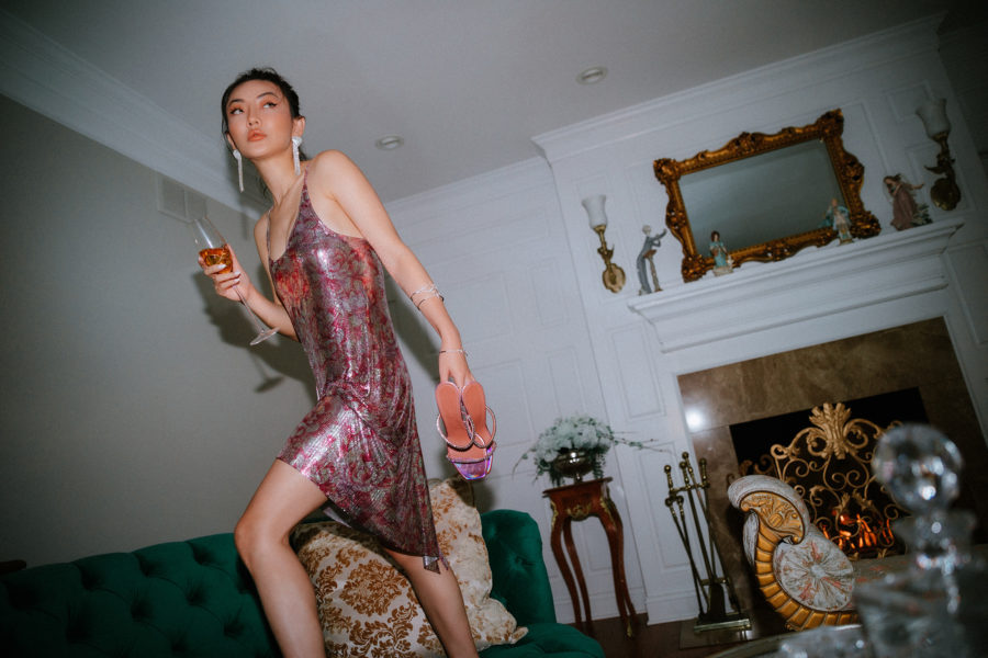 jessica wang wearing a sequin dress and sharing sephora holiday sale 2020 picks // Jessica Wang - Notjessfashion.com