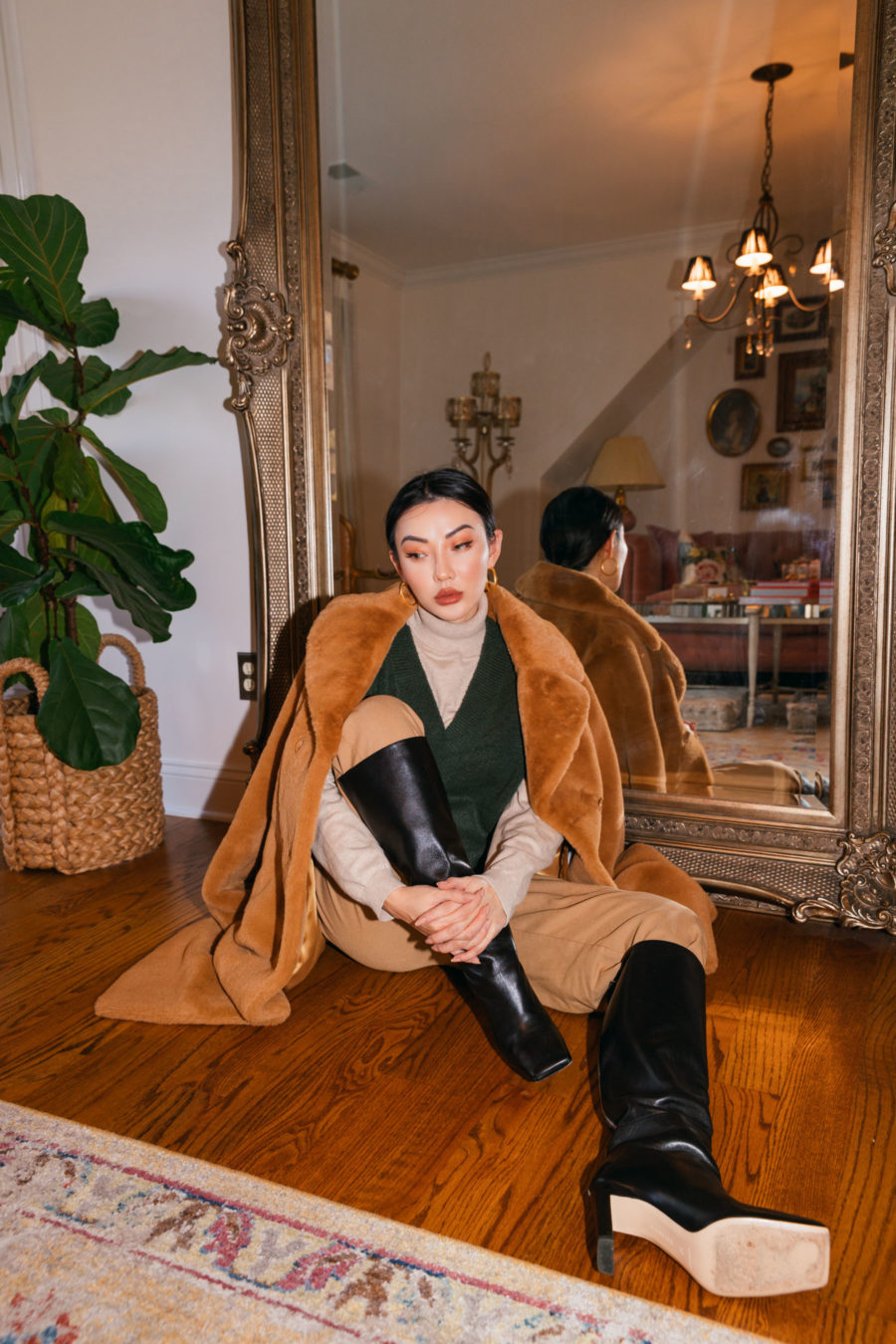 Christmas Outfits - luxe faux fur - faux fur coat, green vest, beige turtle neck, beige pants, square toe boots// Jessica Wang - Notjessfashion.com