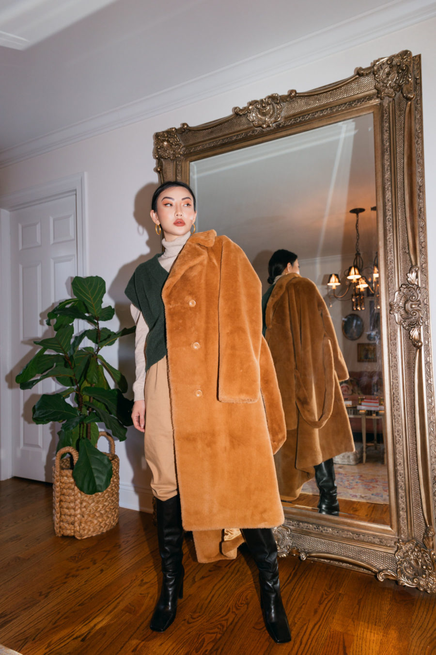 jessica wang wears stand faux fur coat with knee high boots and shares where to buy designer brands on sale // Jessica Wang - Notjessfashion.com