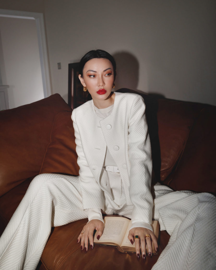 post holiday sales - white monochromatic outfit with wide leg pants and a button up // Jessica Wang - Notjessfashion.com