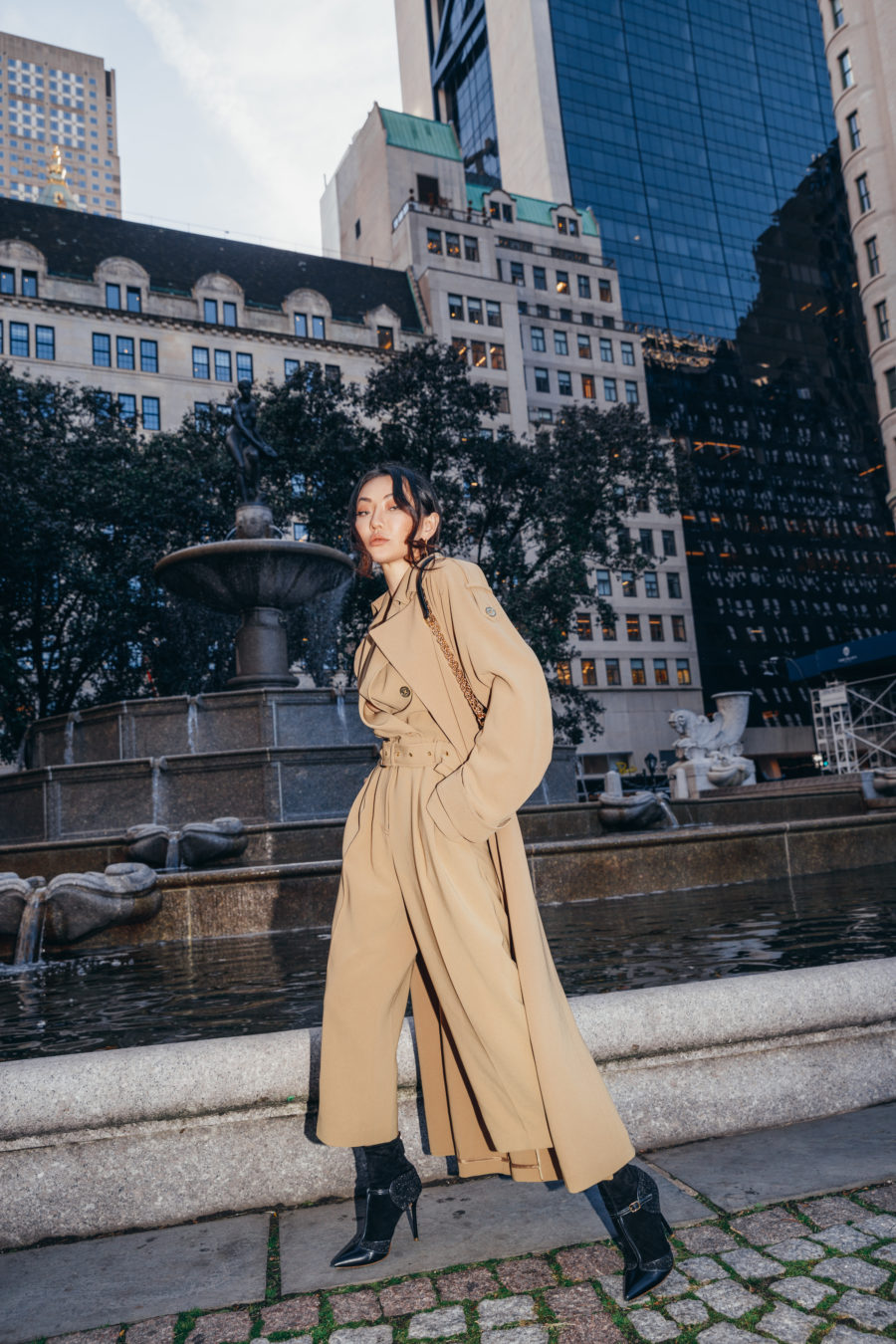 jessica wang wears trendy winter coats - michael kors trench coat // Jessica Wang - Notjessfashion.com