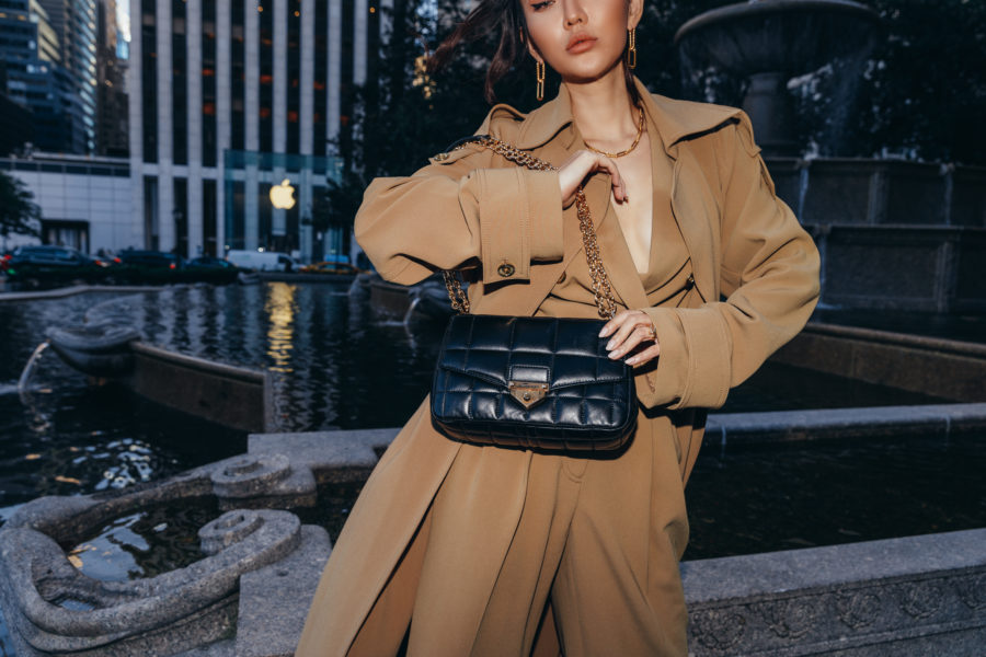 fashion blogger jessica wang wears camel outfit with chunky chain strap bag and shares fall 2020 handbags // Jessica Wang - Notjessfashion.com