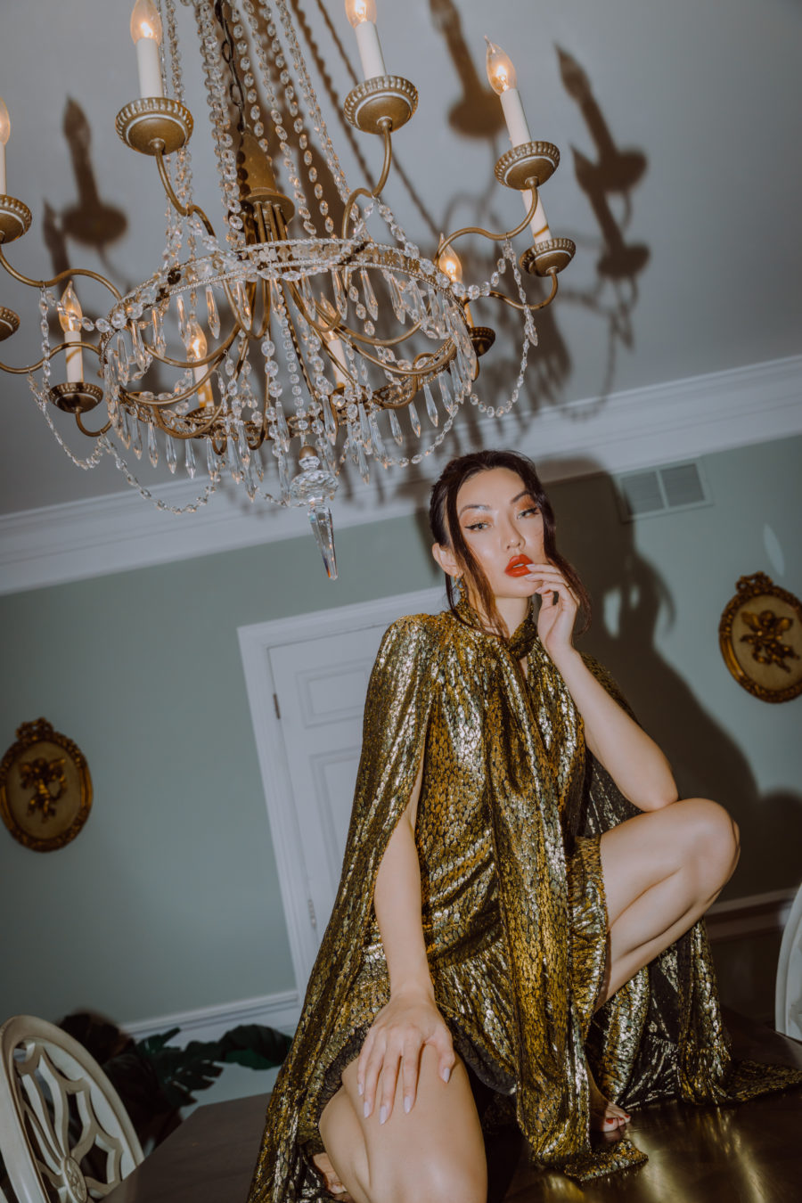 jessica wang wearing a gold dress at home sharing cyber monday deals for 2020 // jessica wang - Notjessfashion.com