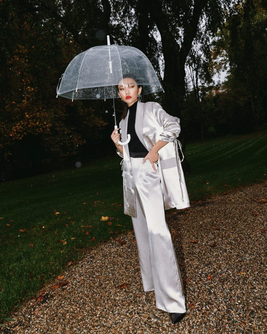 fashion blogger jessica wang wearing a satin suit and sharing her favorite fashion items // Jessica Wang - Notjessfashion.com