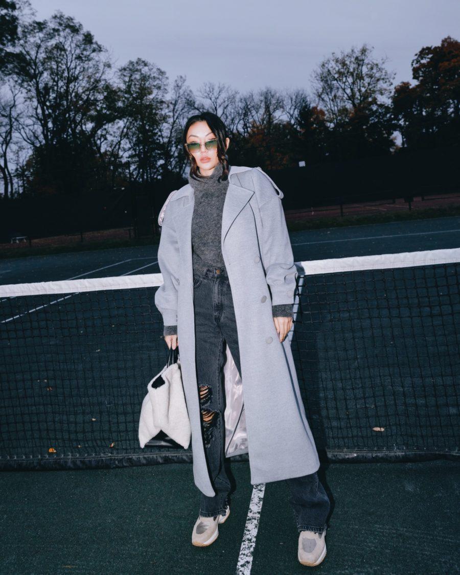 fashion blogger jessica wang carries a faux fur tote and shares fall 2020 handbags // Jessica Wang - Notjessfashion.com