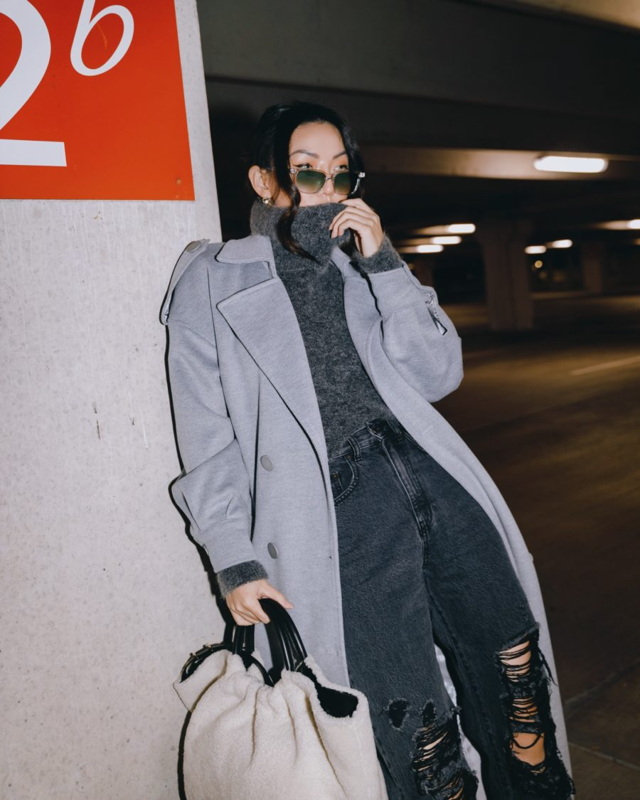 fashion blogger jessica wang wears cozy pieces for fall, monochromatic gray outfit // Jessica Wang - Notjessfashion.com