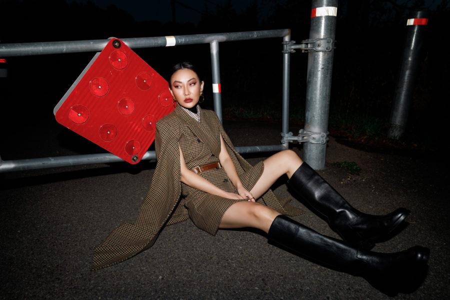 Jessica Wang wearing top fall shoe trends featuring knee high lug sole boots  // Jessica Wang - Notjessfashion.com
