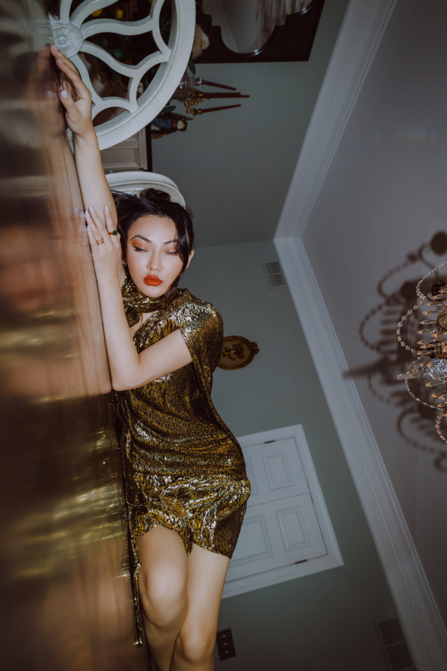 jessica wang wears a sparkly gold dress for new years eve // Jessica Wang - Notjessfashion.com