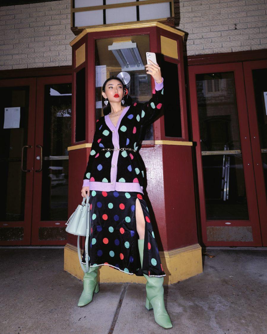 post holiday sales - olivia rubin polka dot cardigan, chain belt, olivia rubin polka dot skirt, polene paris handbag, green boots // Jessica Wang - Notjessfashion.com