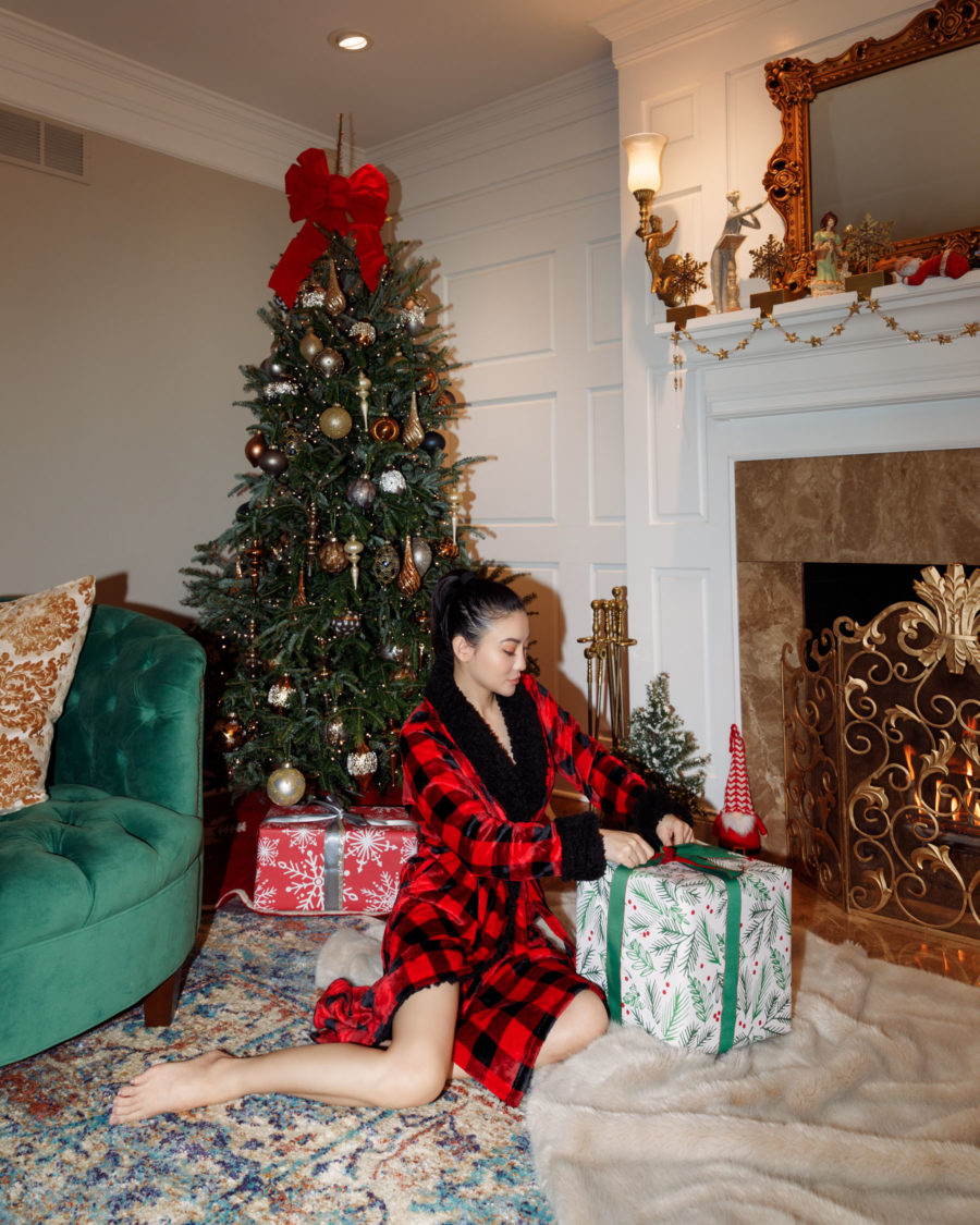 jessica wang wearing a red plaid robe while sharing the best affordable gifts // Jessica Wang - Notjessfashion.com