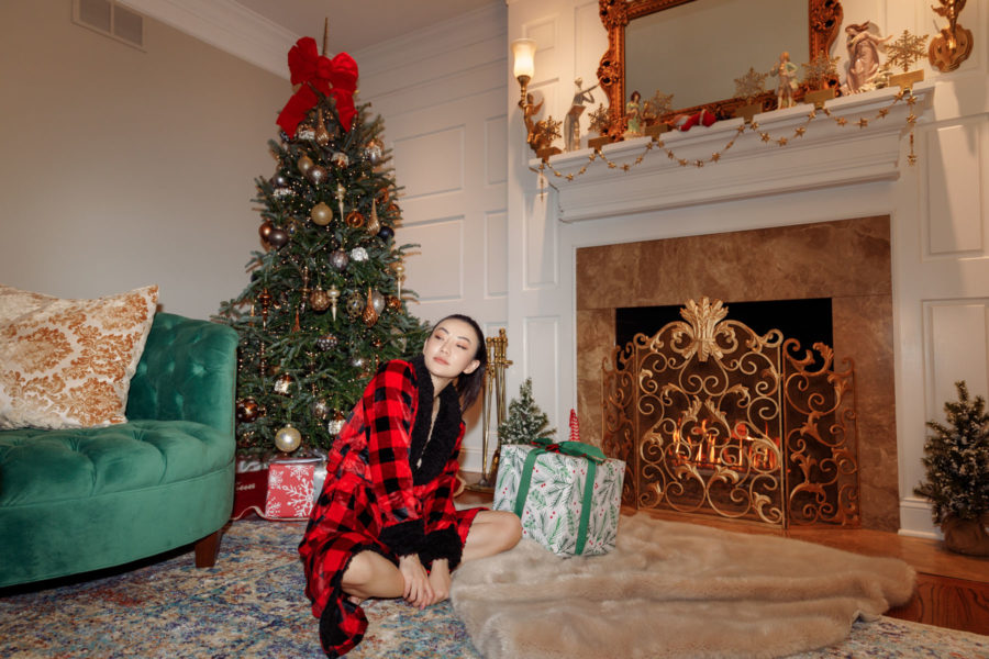 jessica wang wearing a red plaid robe for christmas while sharing the best affordable gifts // Jessica Wang - Notjessfashion.com