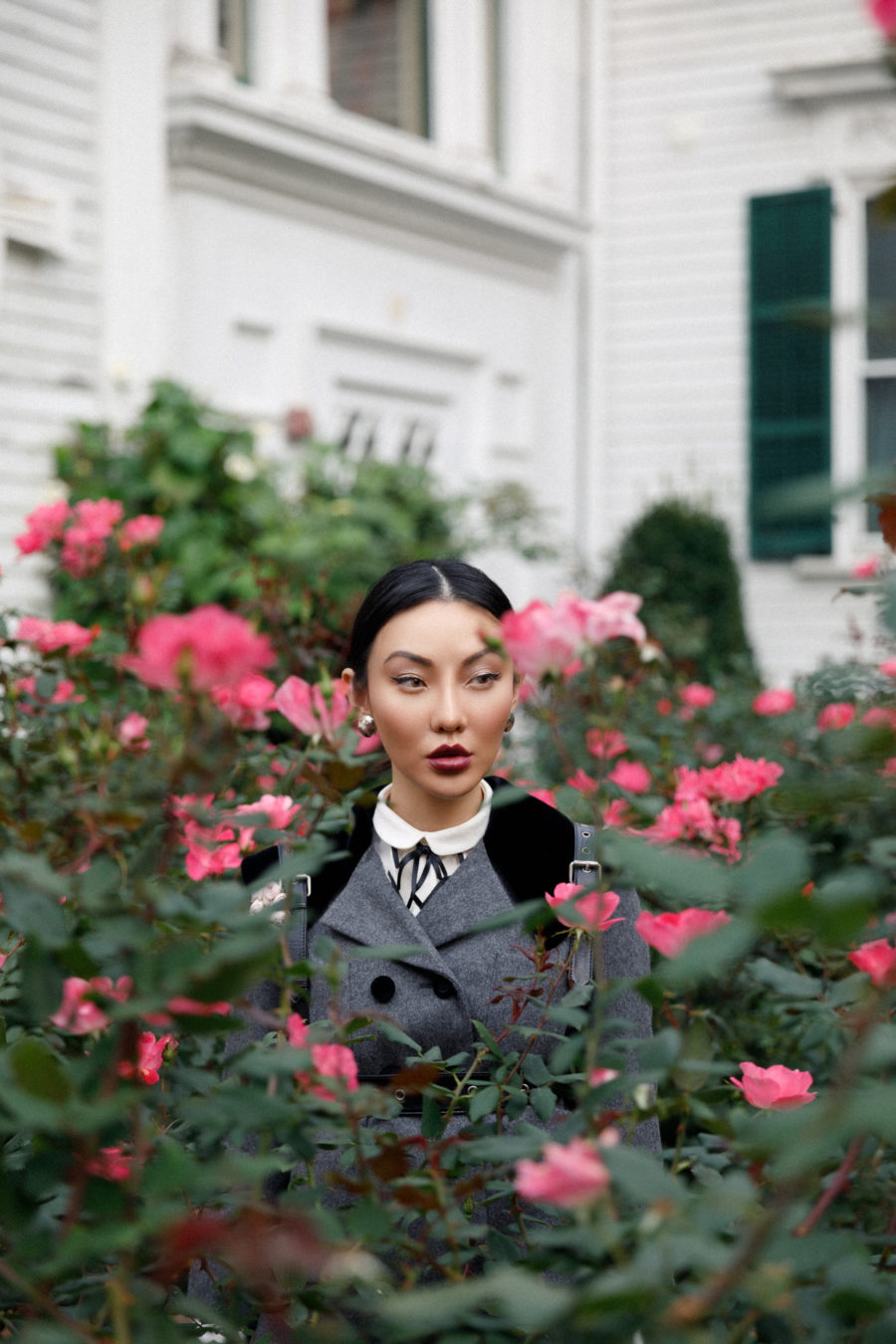jessica wang wears gray gucci suit in a flower garden and shares how to set goals and achieve them // Jessica Wang - Notjessfashion.com