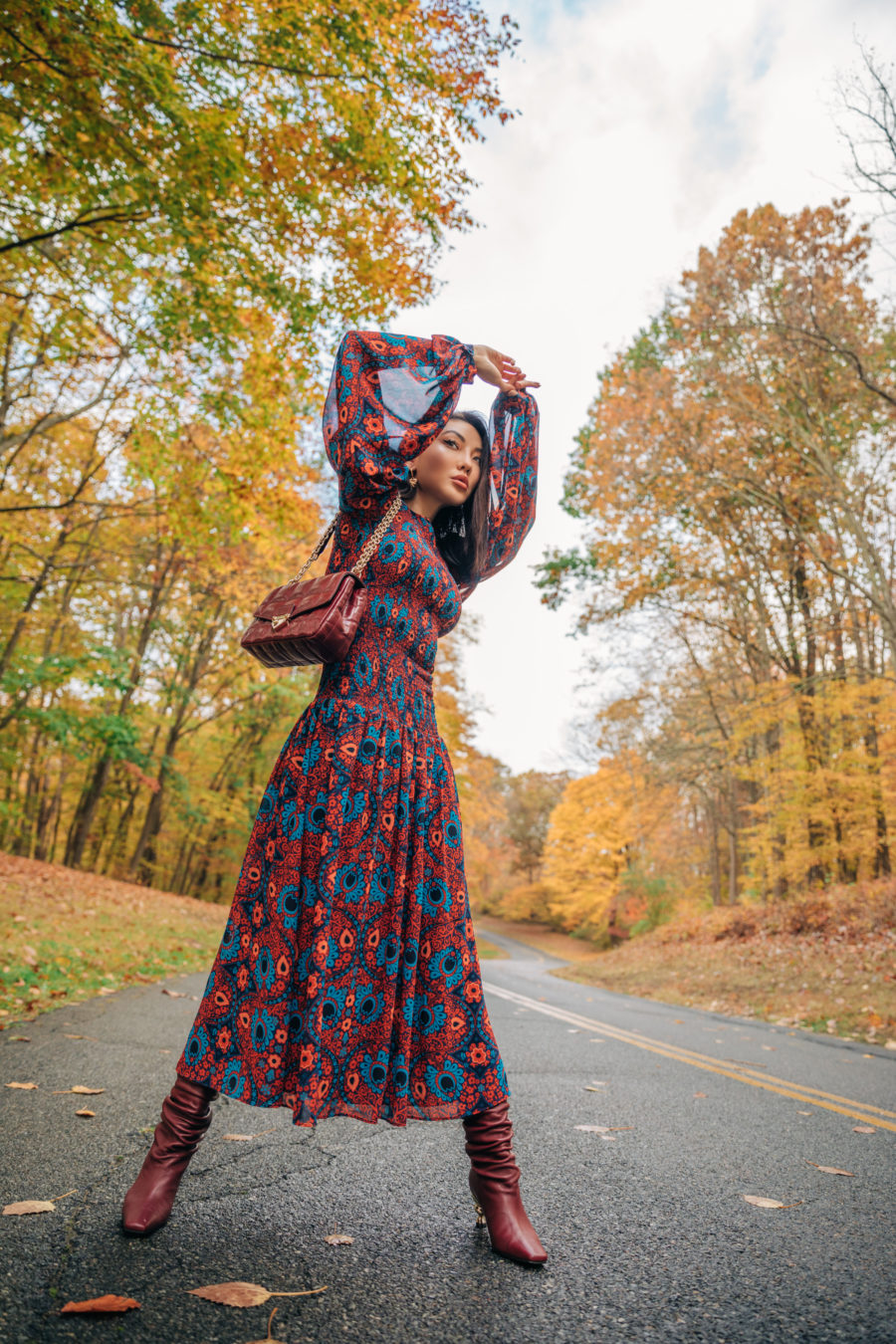 jessica wang wearing a floral dress and maroon boots for a valentine's day outfit // Jessica Wang - Notjessfashion.com