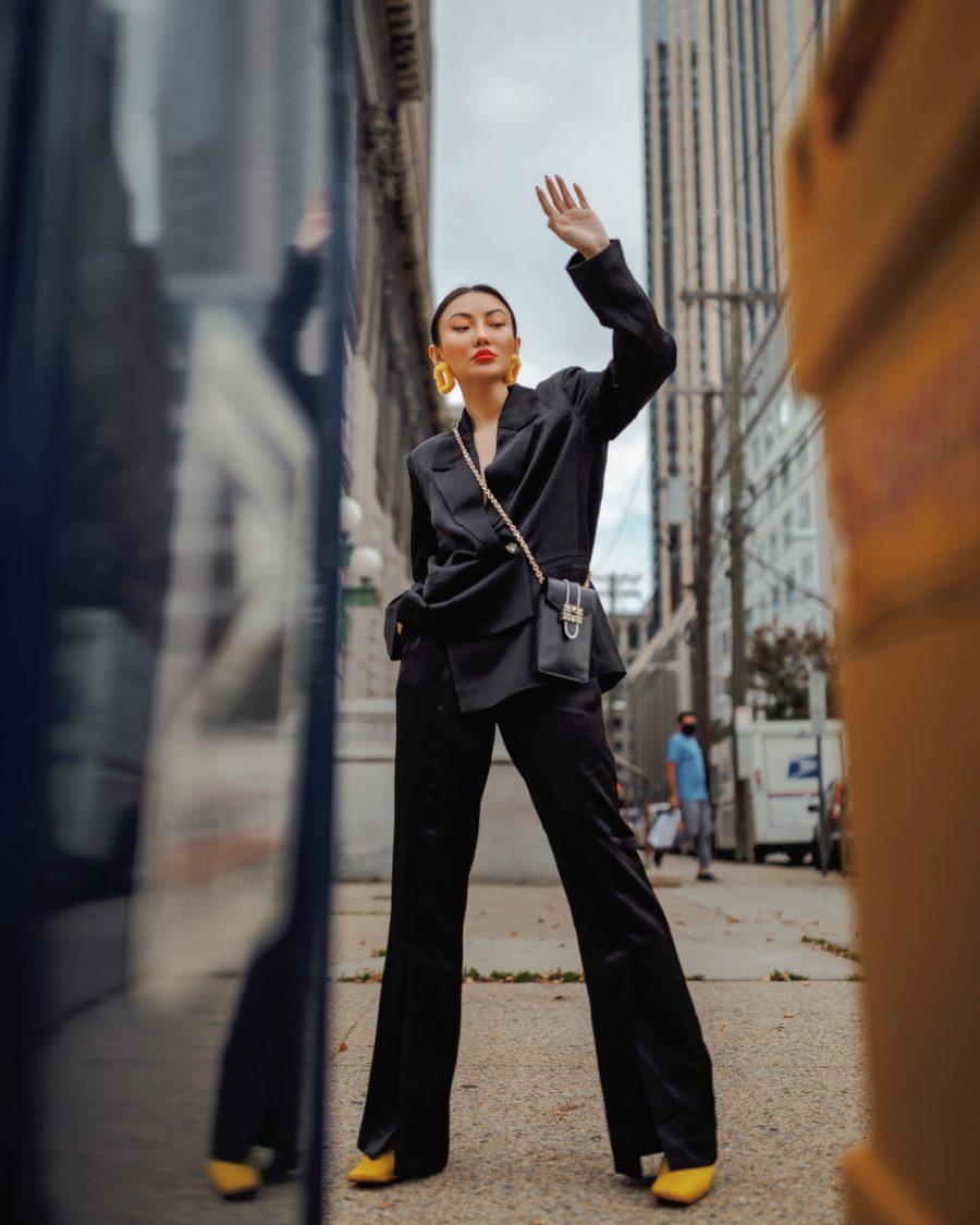 Jessica Wang wearing fall and winter coats featuring a black blazer coat // Jessica Wang - Notjessfashion.com