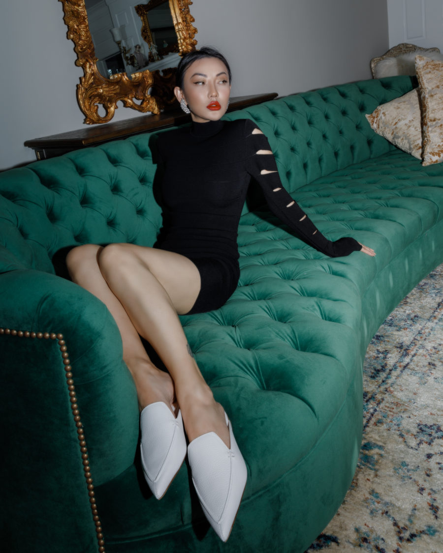 jessica wang wearing a cutout black knit dress for a chic valentine's day outfit // Jessica Wang - Notjessfashion.com