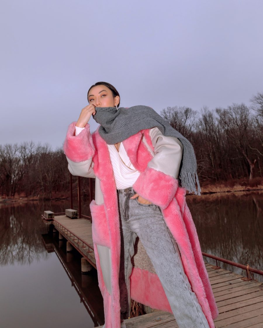 jessica wang wearing a pink fur coat and sharing the best winter fashion hacks // Jessica Wang - Notjessfashion.com